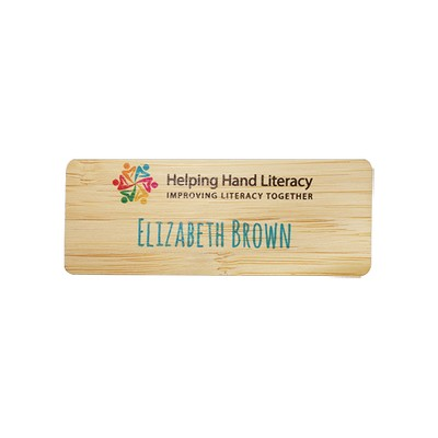 Bamboo Eco Small Name Tag with Clip