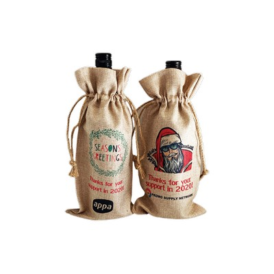 Faux Burlap Wine Bottle Dra