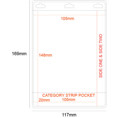 Large A6 Pocket PVC Holder - Double Sided with Category Strip.