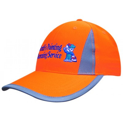 Structured 6 Panel Luminescent Safety Cap with reflective inserts and trim