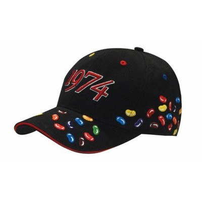 6 Panel Brushed Heavy Cotton cap with Jelly Beans Embroidery