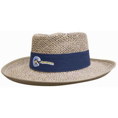 Straw Sports Hat w/- Material Under Brim