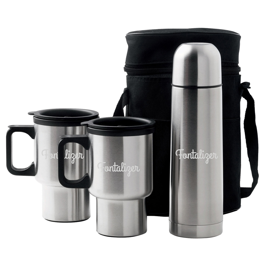 Car Mug/Vacuum Flask Set  - (printed with 1 colour(s)) D355_PB