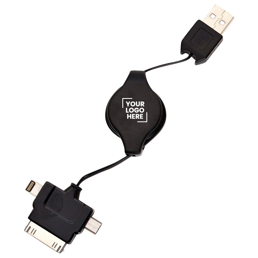 3 in 1 Retractable USB Charger  - (printed with 1 colour(s)) T233B_PB