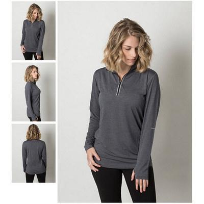 Ladies Cooldry Heather Fabric 1/2 Zip Long Sleeve Top