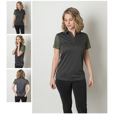 Ladies Cooldry Heather and Sports Interlock Fabric Polo with Sublimated Stripes