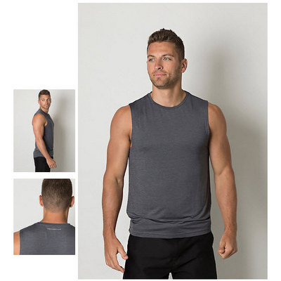Mens Cooldry Heather Fabric Sleeveless Tank Top