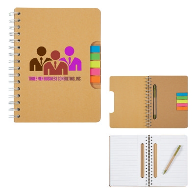 DESK48 Eco Spiral Notebook With Pen And Sticky Flags