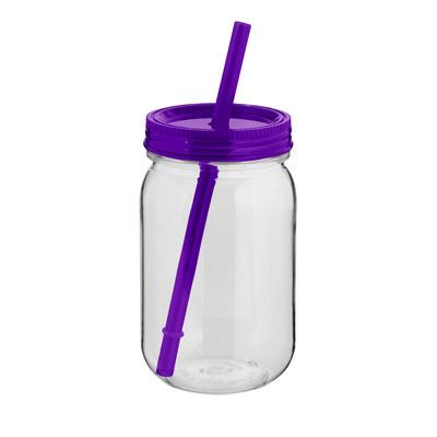 JAR03 Mason Jar With Coloured Lid And Straw