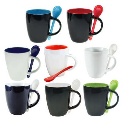 MUGD08 Coffee Mug With Spoon In Conveniant Carry Hole