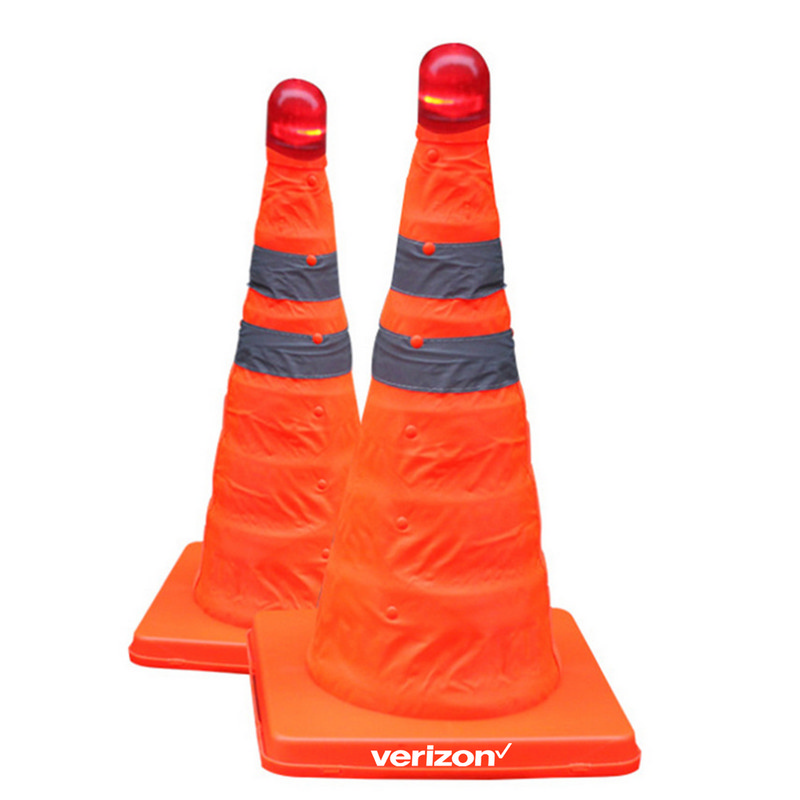 Reflective Folding Road Cone With Top Light