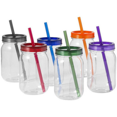 PLAD17 Mason Jar With Coloured Lid And Straw