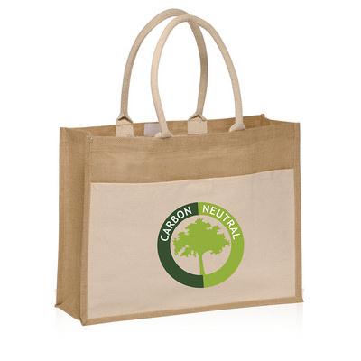 OCBBP1011 Calico Pocket Jute Tote Bags