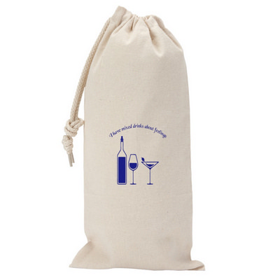 295ml Canvas Drawstring Wine Gift Bag