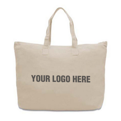 Canvas Large Zippered Tote