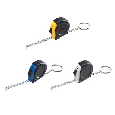 Rubber Tape Measure Key Ring With Laminated Label