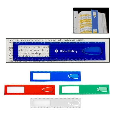 RUS008 15cm Magnifier Ruler With Bookmark