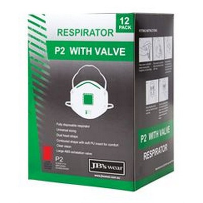 JBS P2 RESPIRATOR WITH VALVE (12PC)