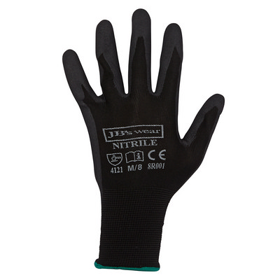 JB`S BLACK NITRILE BREATHABLE GLOVE (12 PK) - S - 07
