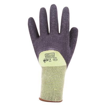 JBs Bamboo Latex Crinkle 34 Dipped Glove 12Pk GrnBl-S-07