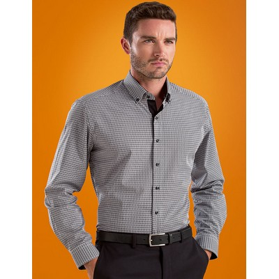 Dobby Check Mens Stretch Slim Fit Business Shirt