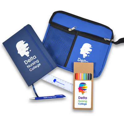 Back To School Kit - Malibu Pouch, Argos Notebook, Virgo Pen, Ruler, Pencils - (printed with 1 colour(s)) LL6002_LL
