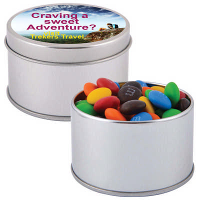 M&M s in Silver Round Tin