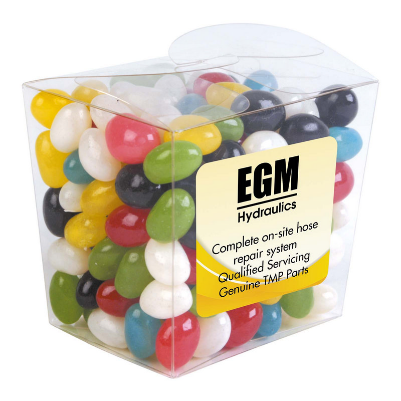 Assorted Colour Mini Jelly Beans in Clear Mini Noodle Box - (printed with 4 colour(s)) LL3154_LLPRINT