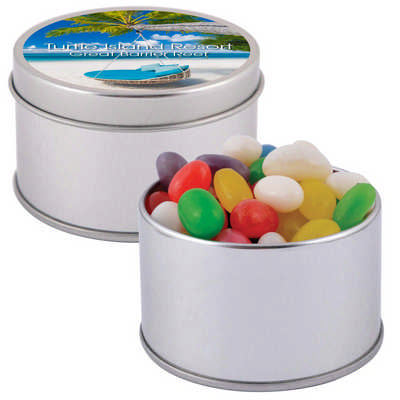 Assorted Colour Mini Jelly Beans in Silver Round Tin - (printed with 1 colour(s)) LL3402_LLPRINT