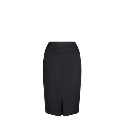 Pencil Line Pocket Skirt Charcoal Wool Blend Charcoal 301-WT-CHA_LSJ