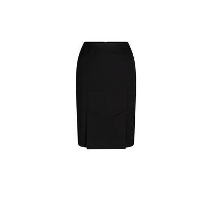Kick Pleat Skirt Black Wool Blend Black 315-WT-BLK_LSJ