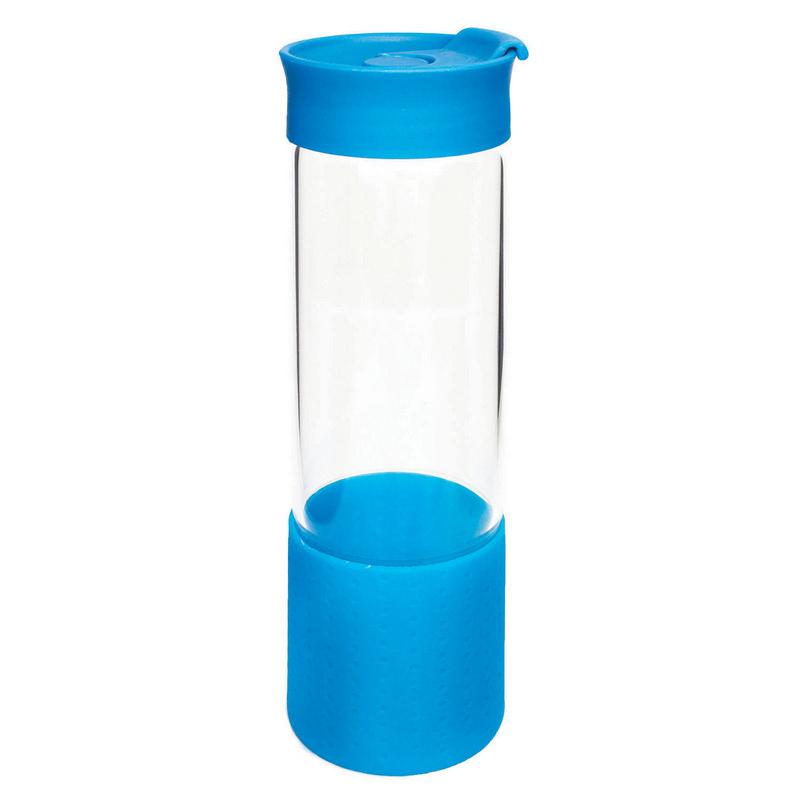 Quest Glass Drink Bottle - Cyan