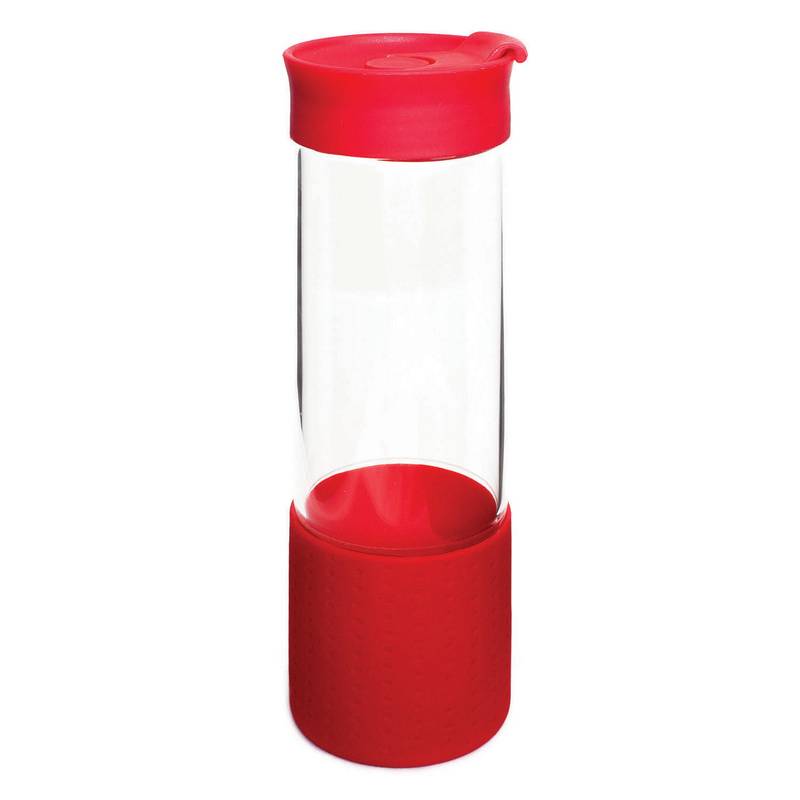 Quest Glass Drink Bottle - Red