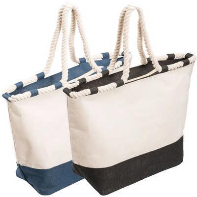 Zippered Laminated Canvas Tote Bag