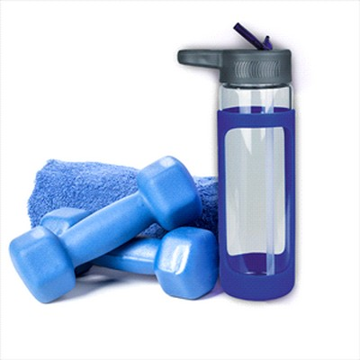 Sleeve Glass Drink Bottle with Sipper - Blue (4197_RNG_DEC)