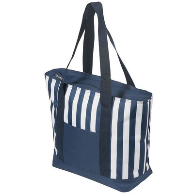 17.5 Litre Zippered Striped Beach Cooler bag - (printed with 1 colour(s))
