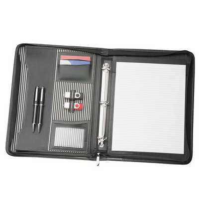 A4 Zippered Compendium with Removable 3 Ring Bind (9032_RNG_DEC)