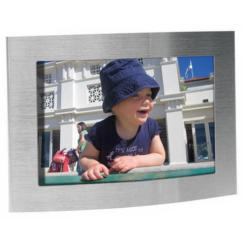Arc brushed silver photo frame - (printed with 1 colour(s)) G1120_ORSO_DEC