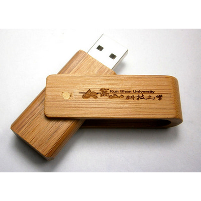 Bamboo timber swivel USB - (printed with 1 colour(s))