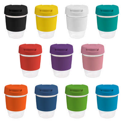12oz340ml Clear Plastic Karma Kup with Plastic Flip Lid - (printed with 1 colour(s)) G1956_ORSO_DEC