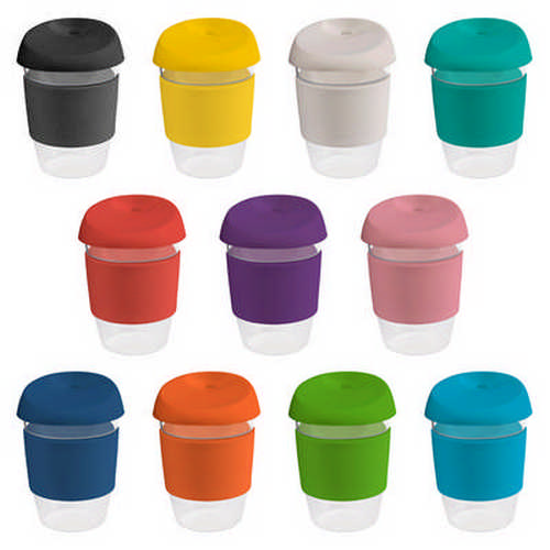 12oz340ml Clear Plastic Karma Kup with Silicon Lid - (printed with 1 colour(s)) G1965_ORSO_DEC