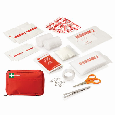 30pc First Aid Kit - Carry Pouch wFront Pocket