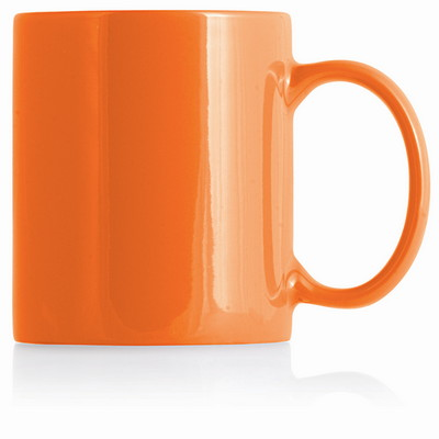 Ceramic Mug Can White InnerOrange Outer