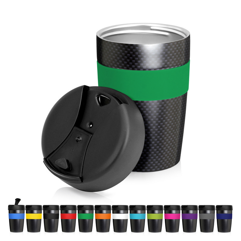 Eco Coffee Cup Stainless Double Wall Cup2Go Carbon Fibre 375ml