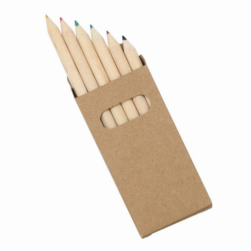 Pencils Colouring 6 Pack Natural Wood