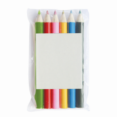 Half Pencils Colouring 6 Pack Pouch
