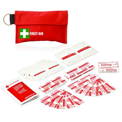 First Aid Kit Pouch Keyring 34pc