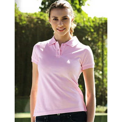 Ladies Pique Knit Fitted CottonSpandex Polo