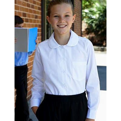 Girls Peter Pan Collar Long Sleeve School Shirt CS1461_BOC
