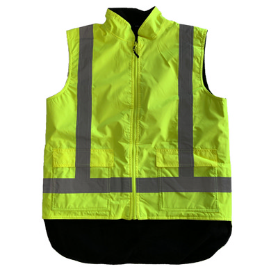 Work-Guard Rev. Fleece lined Safety Vest - Fluro Yellow